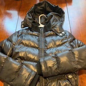 Girls black waist length puffer coat